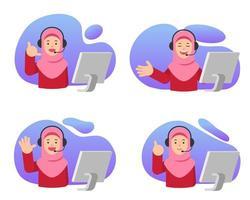 ilustración de niña musulmana de atención al cliente vector