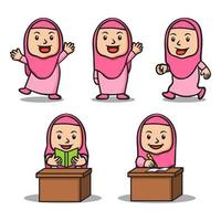 Various Activity Of Girl Islamic School Kids Character Set vector
