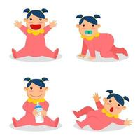 Cute Baby Girl Character Set