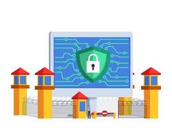 Guard Officer Of Internet Security Concept vector