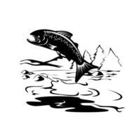 Pez trucha moteada saltando río xilografía retro en blanco y negro vector