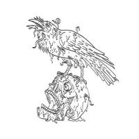 Raven Perching on Top of Human Skull Dripping with Earthworm or Burrowing Worm Line Art Drawing vector