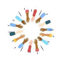 manos de personas de diferentes culturas y razas vector