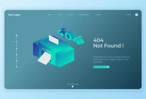 Isometric Wireless Printing for Landing Page background vector