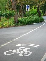 carril bici en una carretera foto