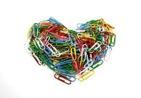Heart-shaped colorful paperclips