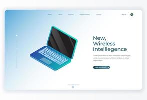 Isometric Laptop for Landing Page background vector