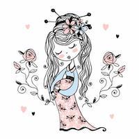 linda chica embarazada con flores en el pelo