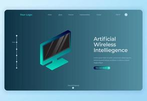 Fondo de página de aterrizaje de tecnología de monitor inteligente isométrico