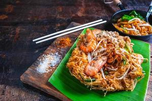 Fried noodles on table