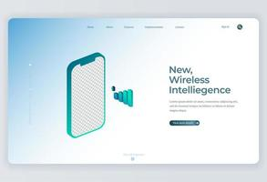 Smartphone Isometric mockup for Landing Page background vector