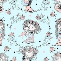 Seamless pattern on the theme of motherhood vector