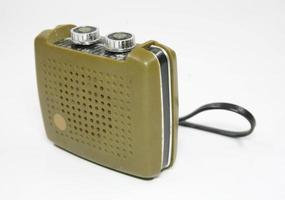 Vintage transistor radio isolated white