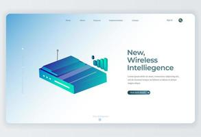 Isometric Wireless Router for Landing Page background vector