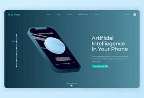 Smartphone technology Isometric Design for Landing Page background vector