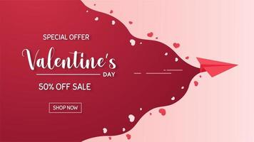 Origami paper rocket Scattered red hearts to kick off Valentine's Day With a special discount vector