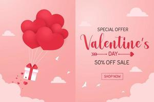 Heart balloons floating in the sky with a gift box sprinkled with red hearts on Valentine's Day. vector