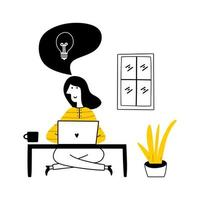 Working at home, coworking space, concept illustration. vector