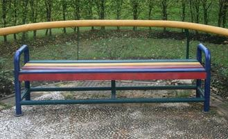 Colorful park bench photo