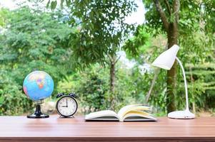 Office desk with nature background