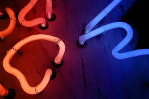 Red and blue neon lights photo