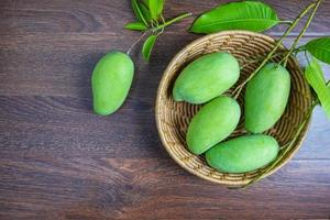 Fresh green mango fruit in a wooden basket