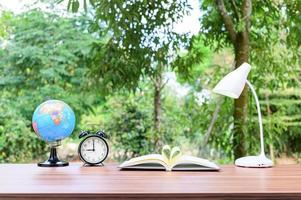 Office desk with nature background photo