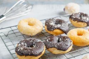 Chocolate and vanilla donuts photo