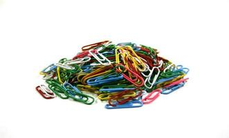 Colorful paperclips on white