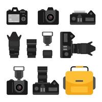 Set of black camera accessory icons on white background. Photography equipment flat vector illustrations.