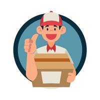 Repartidor con cara de sonrisa feliz y gesto de mano bien enviar paquete vector
