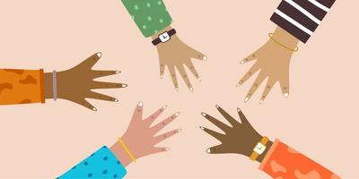 Hands of diverse group of people putting together. People promise each other. Friends with hands showing unity and teamwork, top view. Concept of team work. Flat colorful cartoon vector illustration