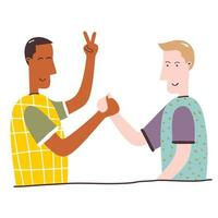 Two teenagers man holding hands each other cartoon characters on a white background. Excited, smiling young men, office workers, colleagues, brothers. Concept of friendship. Flat vector illustration