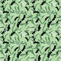 Vector seamless texture background pattern. Hand drawn, green, black, white colors.