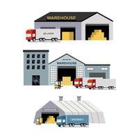 entrega y transporte de logística, almacén, montacargas. vector
