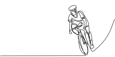 Continuous one line cyclist rider on bicycle. Men's fitness sports athletes ride bicycles. vector