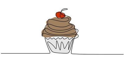 Cupcake con decoración y elemento de dibujo de línea continua cereza aislado sobre fondo blanco. vector