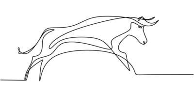 dibujo continuo de una línea toro vaca. conservación del parque nacional de animales en peligro de extinción.