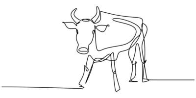 Continuous one line drawing bull cow. Endangered animal national park conservation. vector