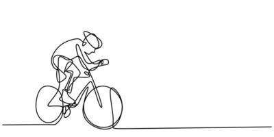 ciclista continuo de una línea en bicicleta. los deportistas deportivos masculinos andan en bicicleta.