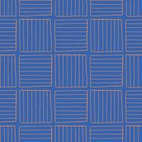 Vector seamless texture background pattern. Hand drawn, blue, orange colors.