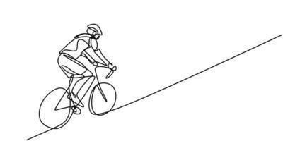 ciclista continuo de una línea en bicicleta. los deportistas deportivos masculinos andan en bicicleta. vector