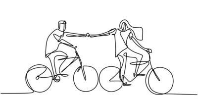 dibujo de una línea de la joven pareja feliz en bicicleta. macho y hembra toman su mano y conectan juntos gesto. vector