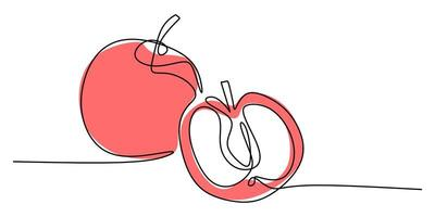 Continuous line drawing of apple fruit.