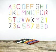 Alphabet and crayons