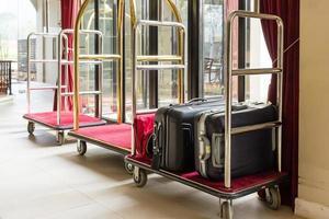 Hotel luggage trolleys