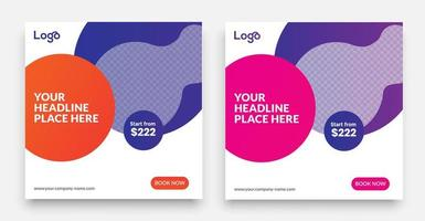 plantilla de publicación de redes sociales de viajes geométricos con un elemento de diseño de tipografía genial y colores degradados de moda con fondos de rebajas y descuentos. vector