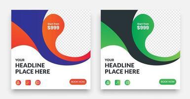diseño de plantilla de publicación de redes sociales de viajes geométricos vector