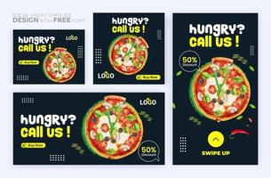 Food menu banner social media post. Set of social media story and post frames. vector