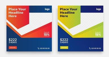 Geometric Travel social media post template design vector